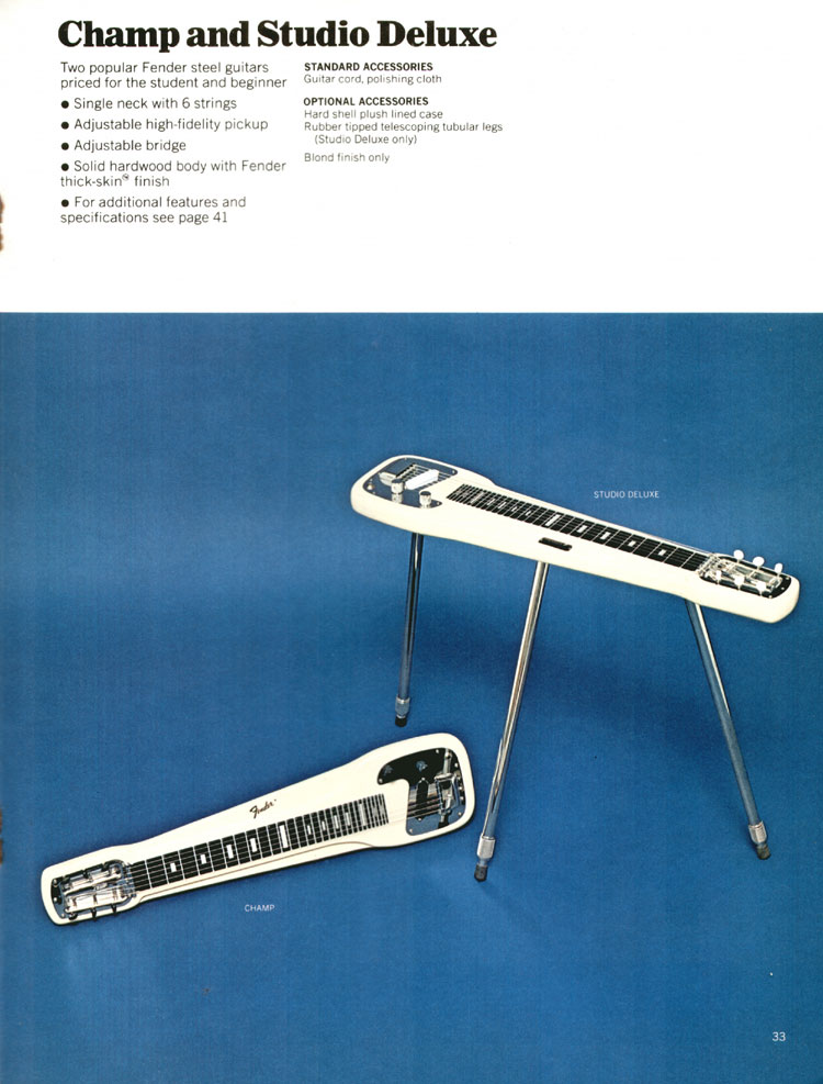 Fender Champ and Studio Deluxe Steel Guitars - 1972 Fender catalogue - page 35