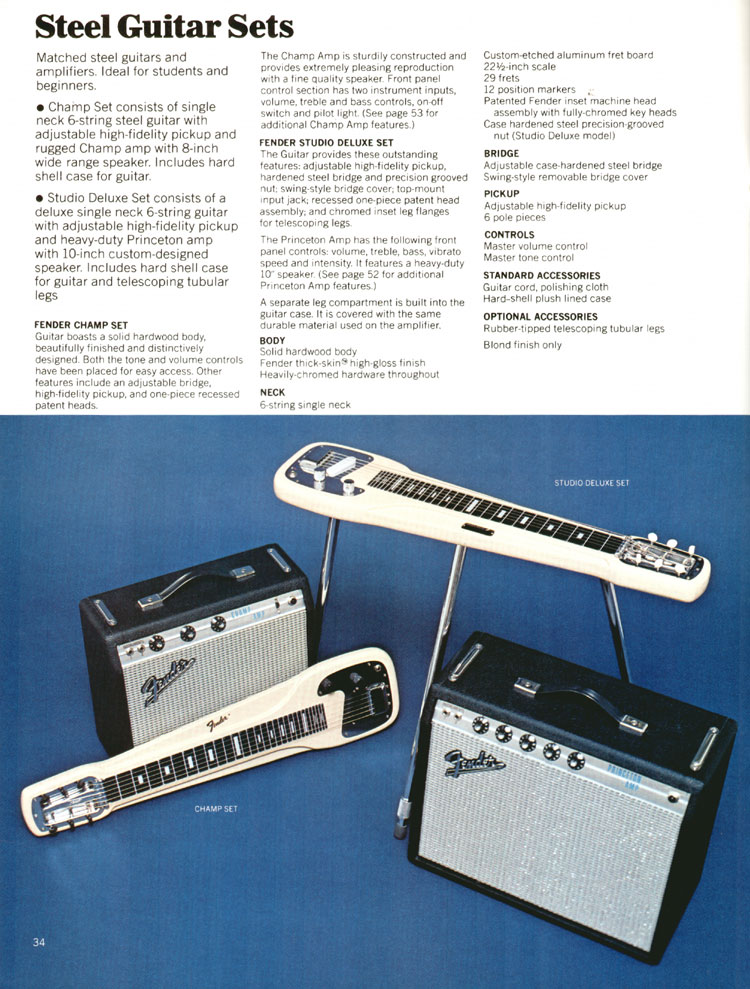 Fender Steel Guitar Sets - 1972 Fender catalogue - page 36
