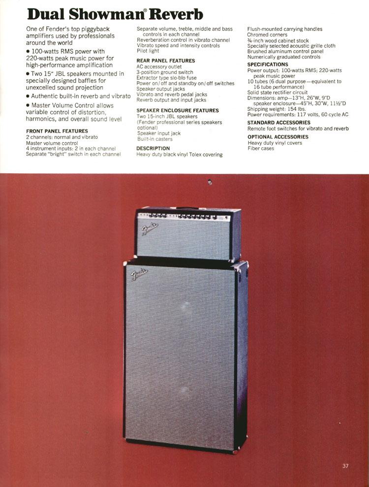Fender Dual Showman Reverb - 1972 Fender catalogue - page 39
