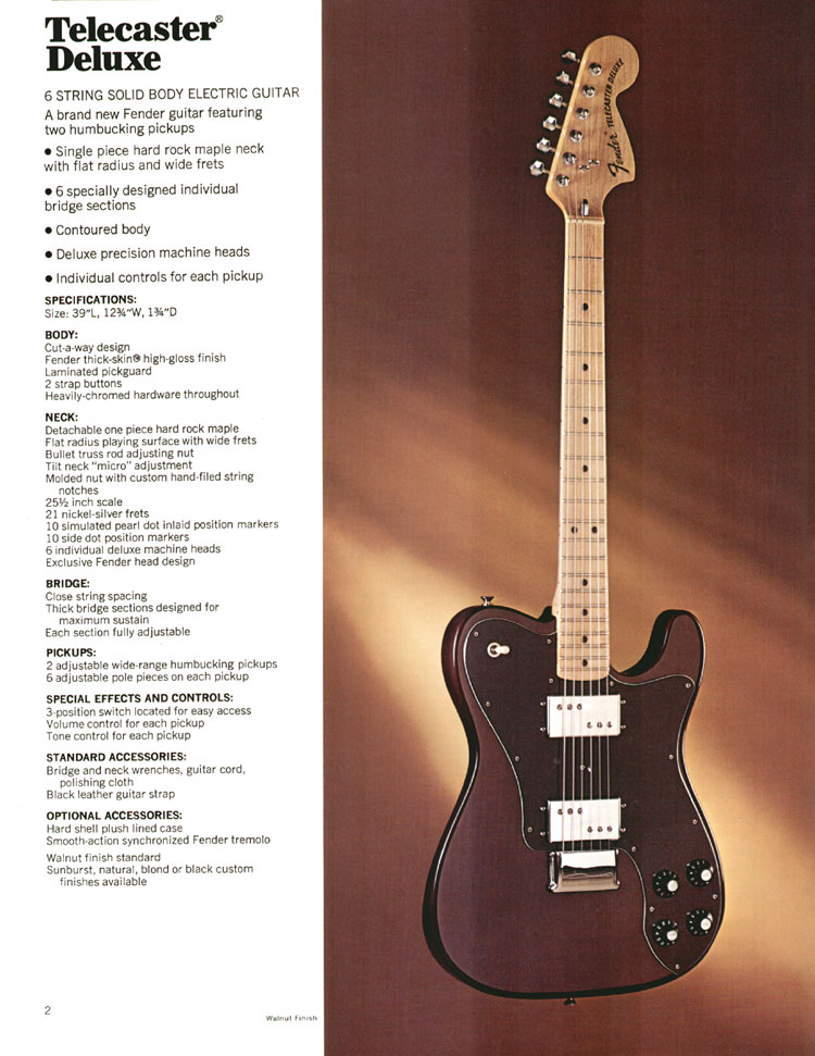 1972 Fender catalogue - page 4 - Fender Telecaster Deluxe