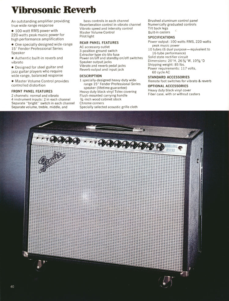 Fender Vibrosonic Reverb Amplifier - 1972 Fender catalogue - page 42