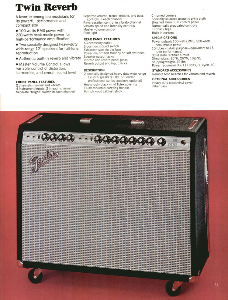 Fender Twin Reverb Amplifier - 1972 Fender catalogue - page 43