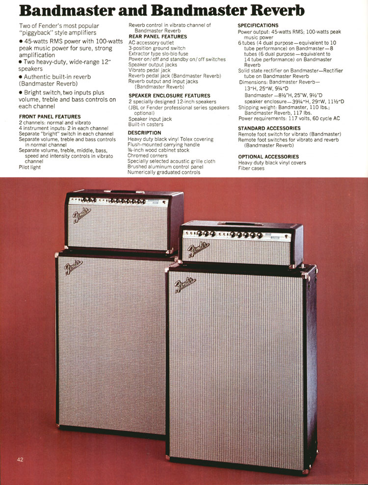 Fender Bandmaster and Bandmaster Reverb Amplifiers - 1972 Fender catalogue - page 44