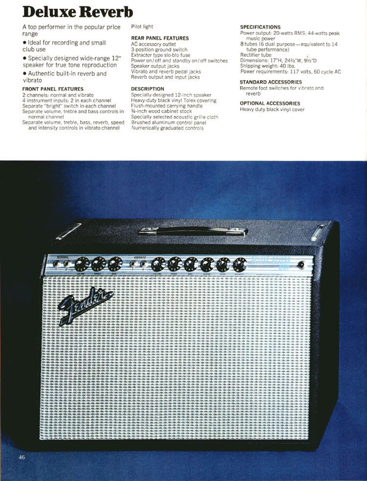 Fender Deluxe Reverb - 1972 Fender catalogue - page 48