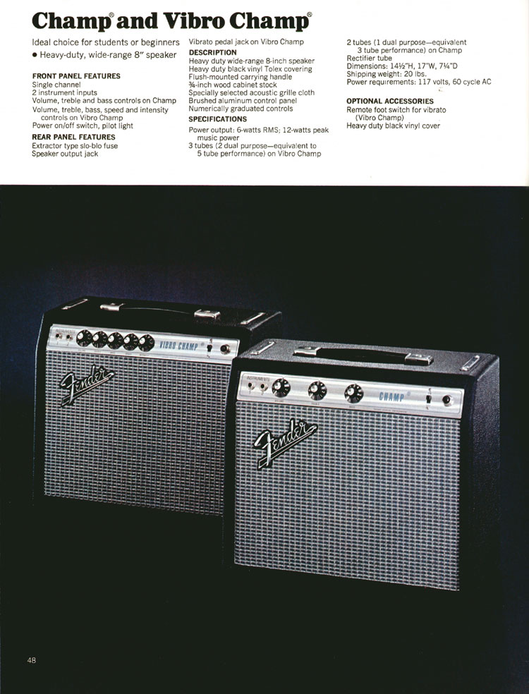 Fender Champ and Vibro Champ Amplifiers - 1972 Fender catalogue - page 50