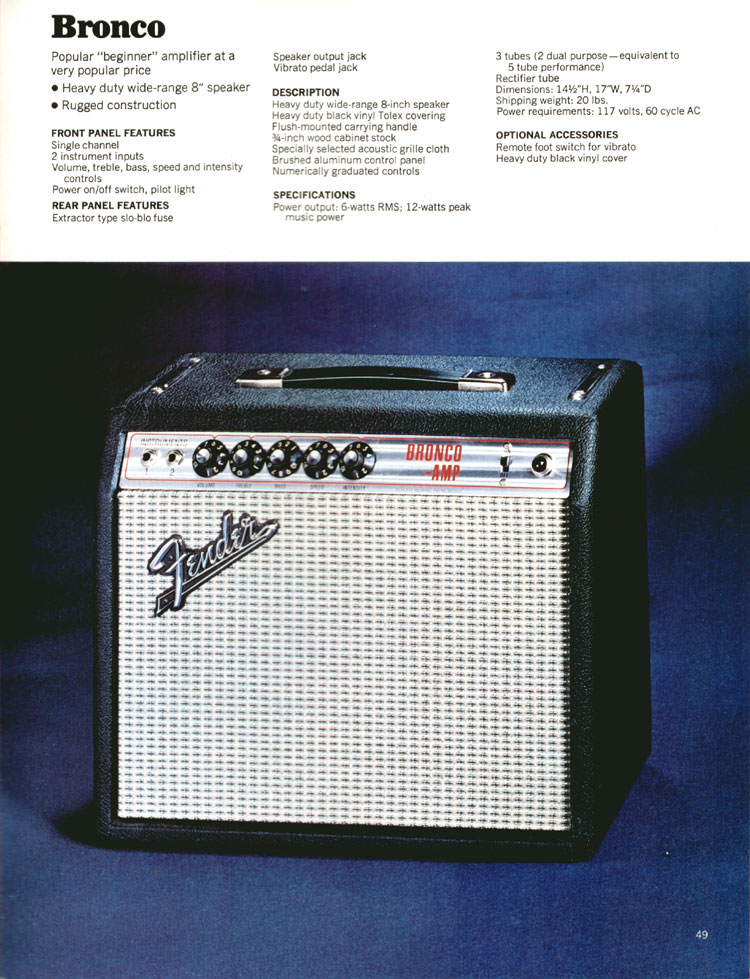 Fender Bronco - 1972 Fender catalogue - page 51