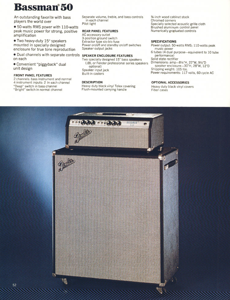 Fender Bassman 50 Amplifier - 1972 Fender catalogue - page 54