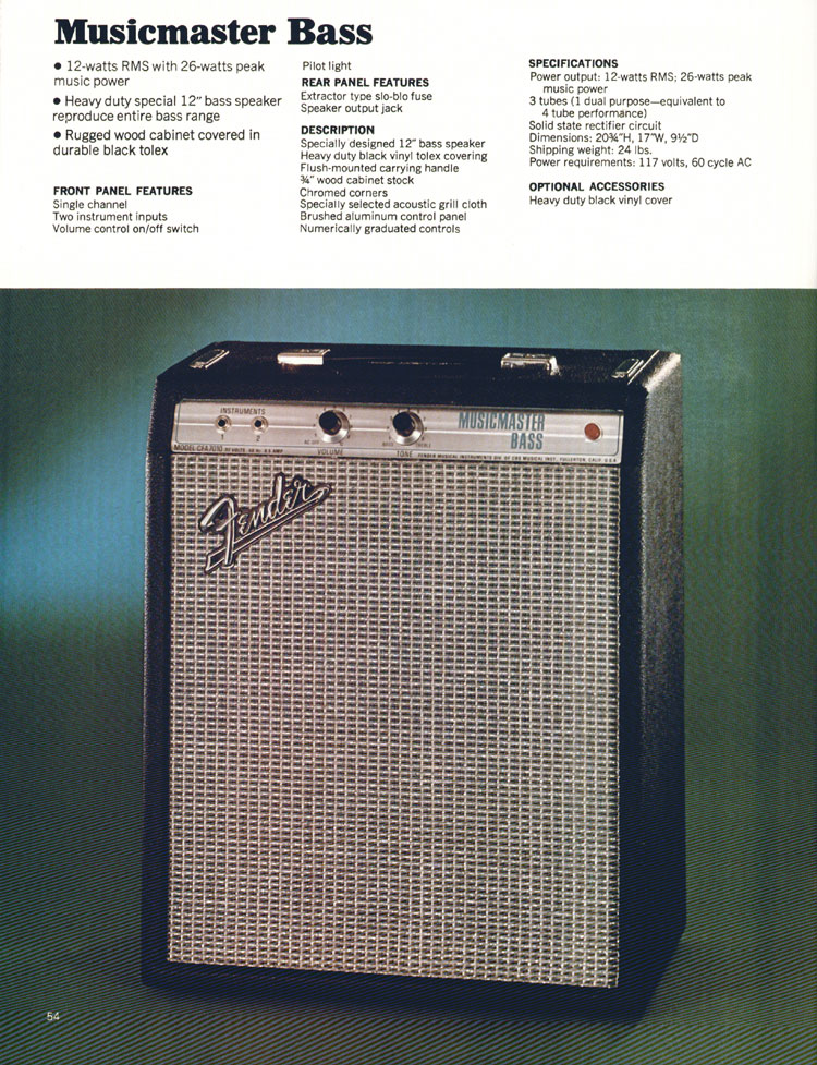Fender Musicmaster Bass Amplifier - 1972 Fender catalogue - page 56