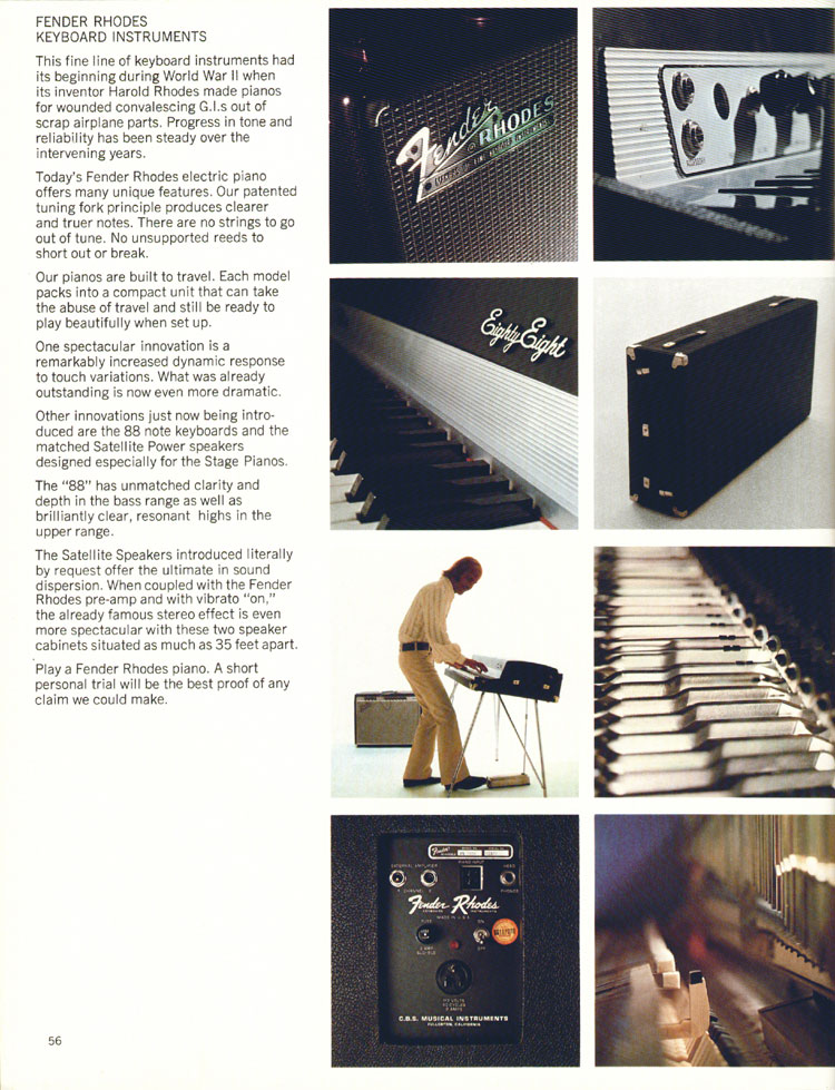 Fender Keyboards - 1972 Fender catalogue - page 58