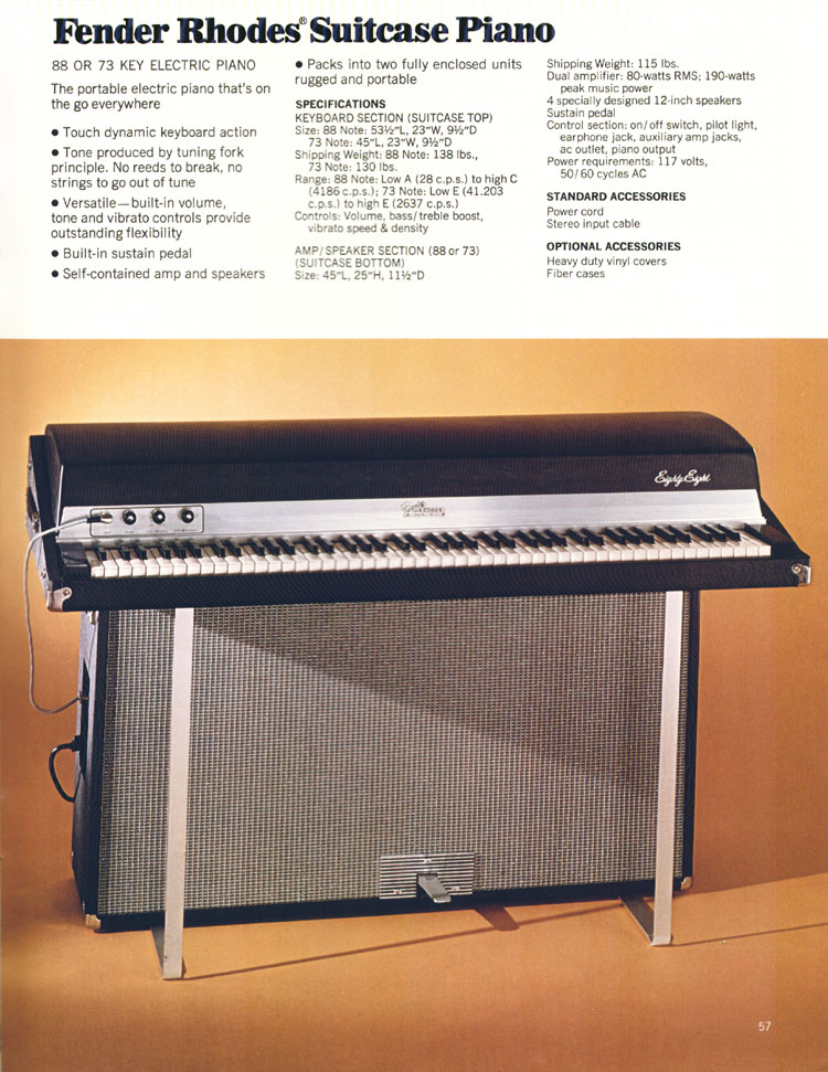 Fender Rhodes Suitcase Piano - 1972 Fender catalogue - page 59