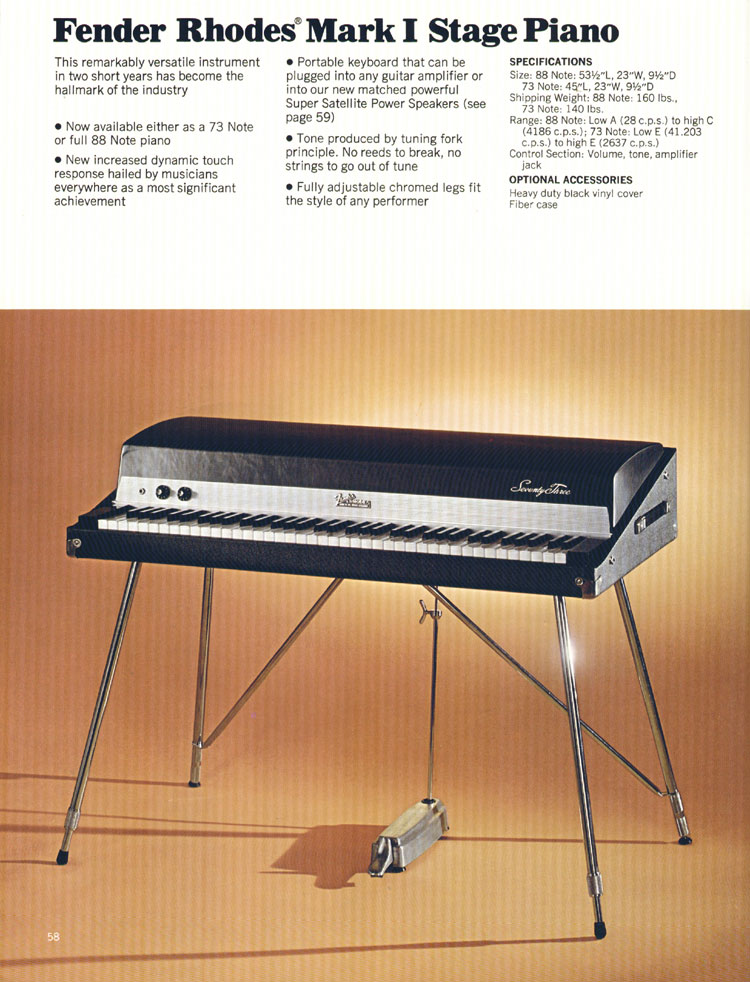 Fender Rhodes Mark1 Stage Piano - 1972 Fender catalogue - page 60