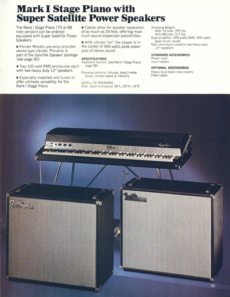 Fender Fender Rhodes Mark 1 Stage Piano With Super Satellite Power Speakers - 1972 Fender catalogue - page 61