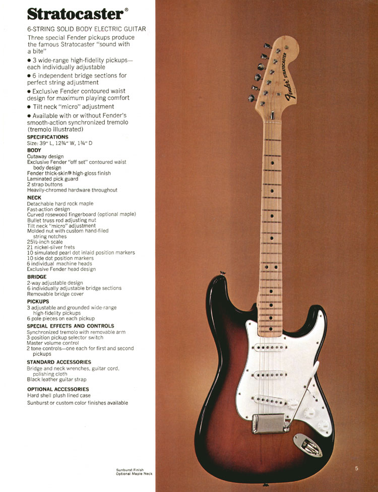 1972 Fender guitar and bass catalogue - page 7 - the Fender Stratocaster
