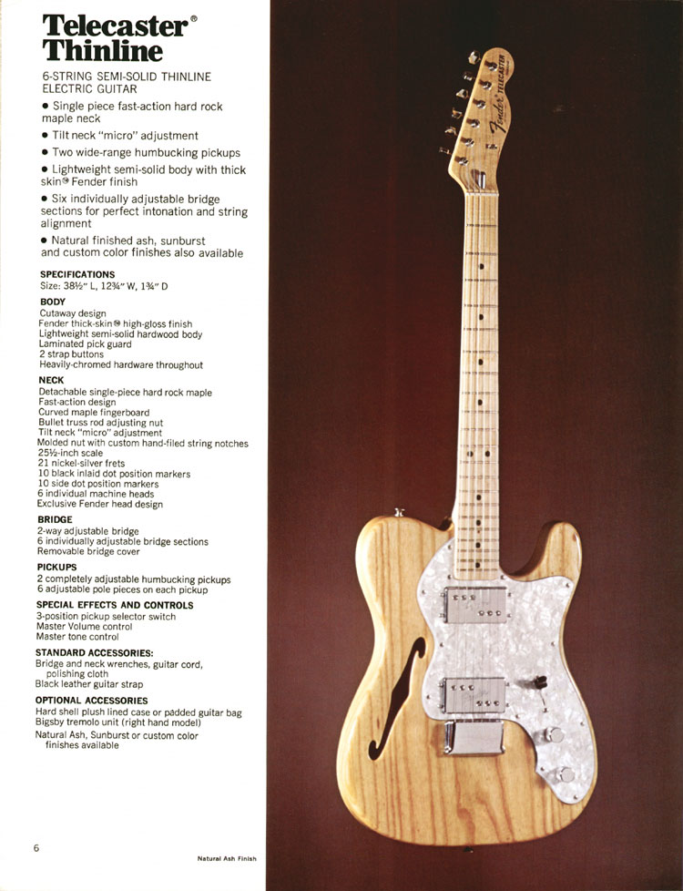 Fender Telecaster Thinline - 1972 Fender catalogue - page 8