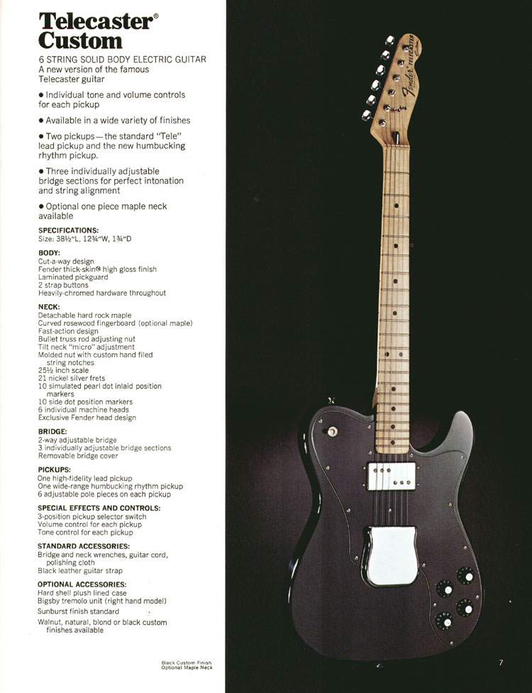 Fender Telecaster Custom - 1972 Fender catalogue - page 9