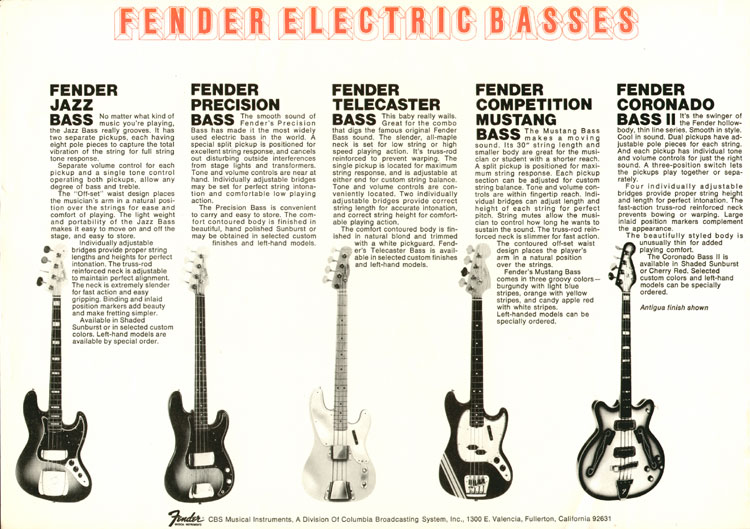 1969 Fender catalogue - Big Bass Sound of Fender - page 4