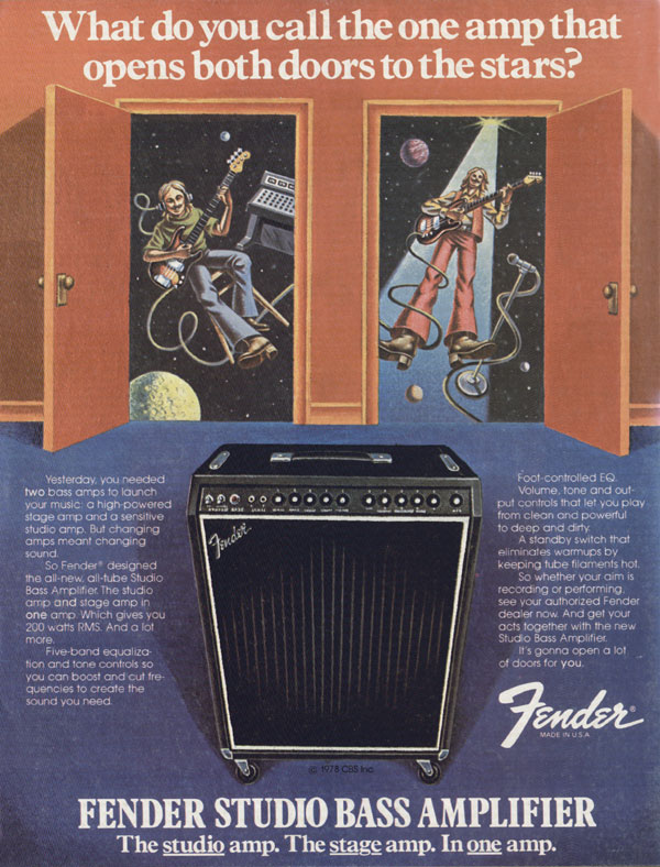 Fender advertisement (1979) What Do You Call The One Amp That Opens Both Doors To The Stars