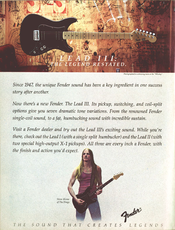 Fender advertisement (1982) Lead III: the legend restated