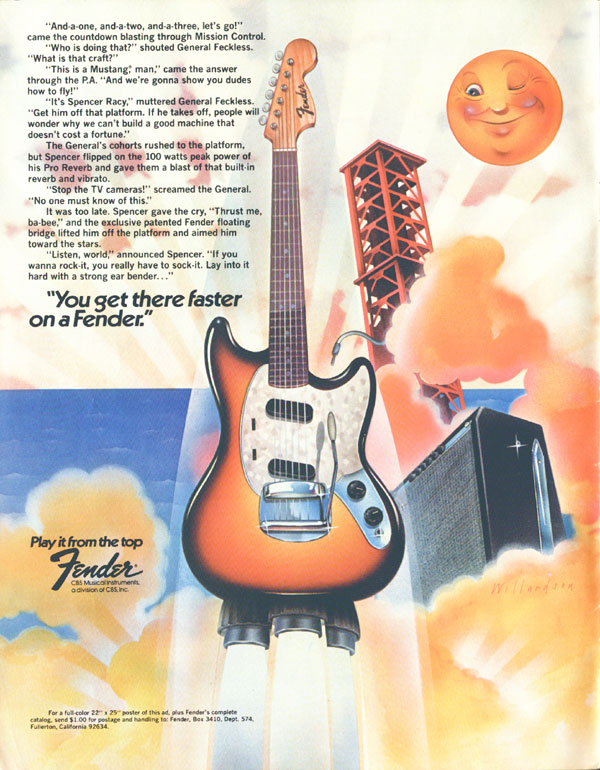 Fender advertisement (1974) You get there faster on a Fender (Fender Mustang)