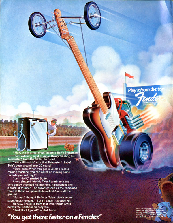 Fender advertisement (1974) You get there faster on a Fender (Fender Telecaster guitar)