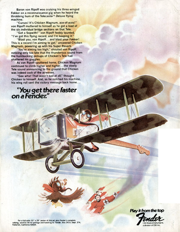 Fender advertisement (1975) You get there faster on a Fender
