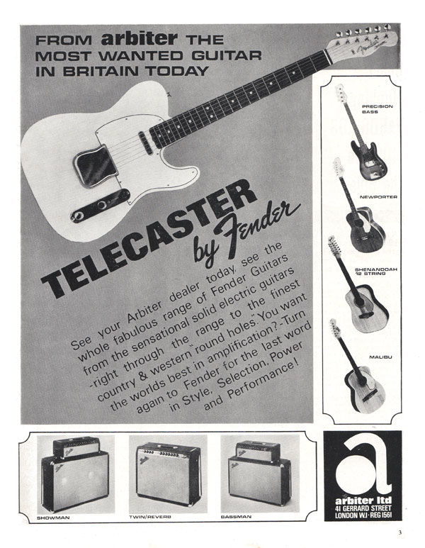 Fender advertisement (1966) From Arbiter the Most Wanted Guitar in Britain Today Telecaster by Fender