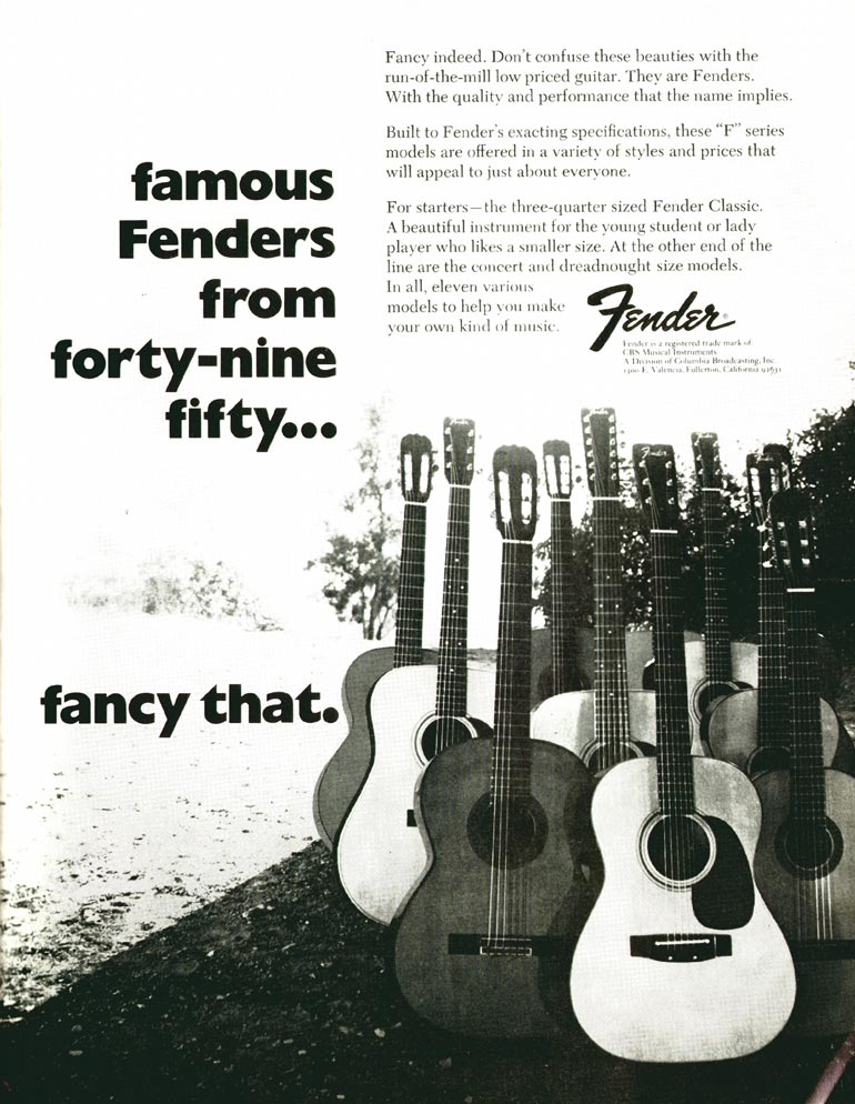 Fender advertisement (1972) Famous Fenders From Forty-nine Fifty