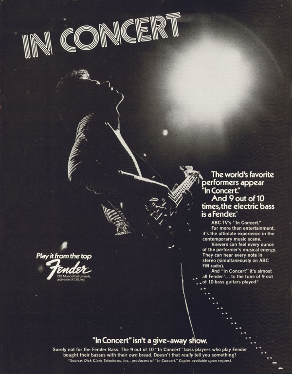 Fender advertisement (1974) In Concert