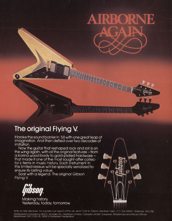 Gibson advertisement (1982) Airborne Again. The original Flying V