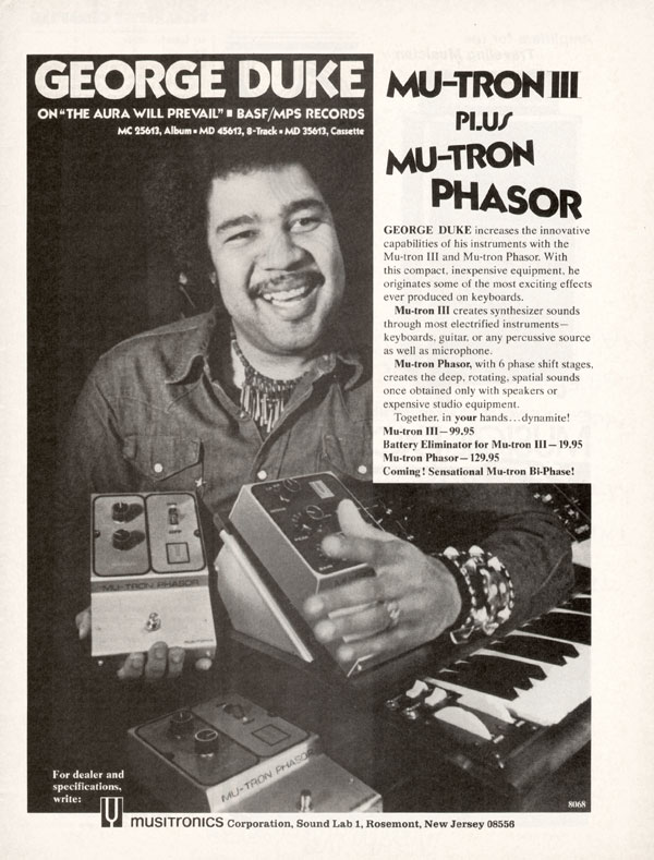 Musitronics advertisement (1975) George Duke. Mu-tron III Plus Mu-tron Phasor