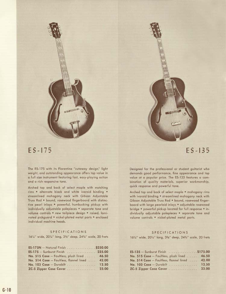 1958 Gibson Electric Guitars and Amplifiers Catalogue page 10