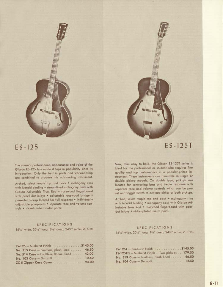 1958 Gibson Electric Guitars and Amplifiers Catalogue page 11 - ES-125 and ES-125T
