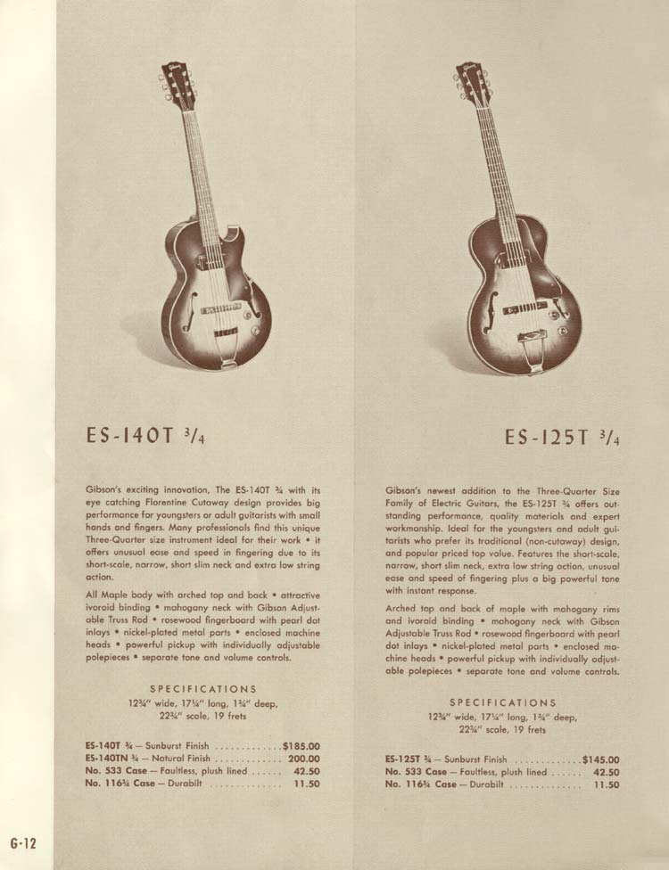 1958 Gibson Electric Guitars and Amplifiers Catalogue page 12 - ES-140T 3/4 and ES-125T 3/4