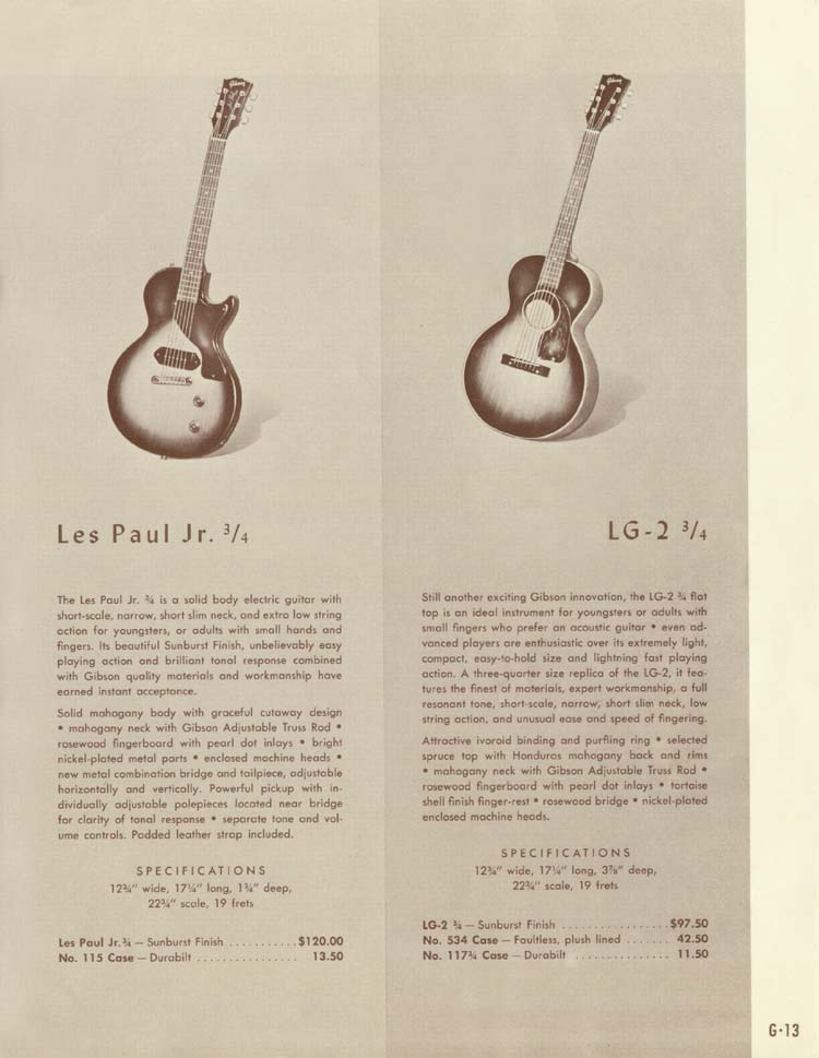 1958 Gibson Electric Guitars and Amplifiers Catalogue page 13 - Les Paul Junior 3/4 and LG-2 3/4