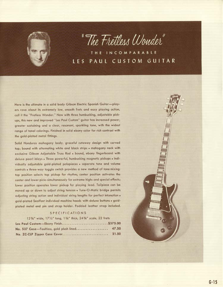 1958 Gibson Electric Guitars and Amplifiers Catalogue page 15 - Les Paul Custom
