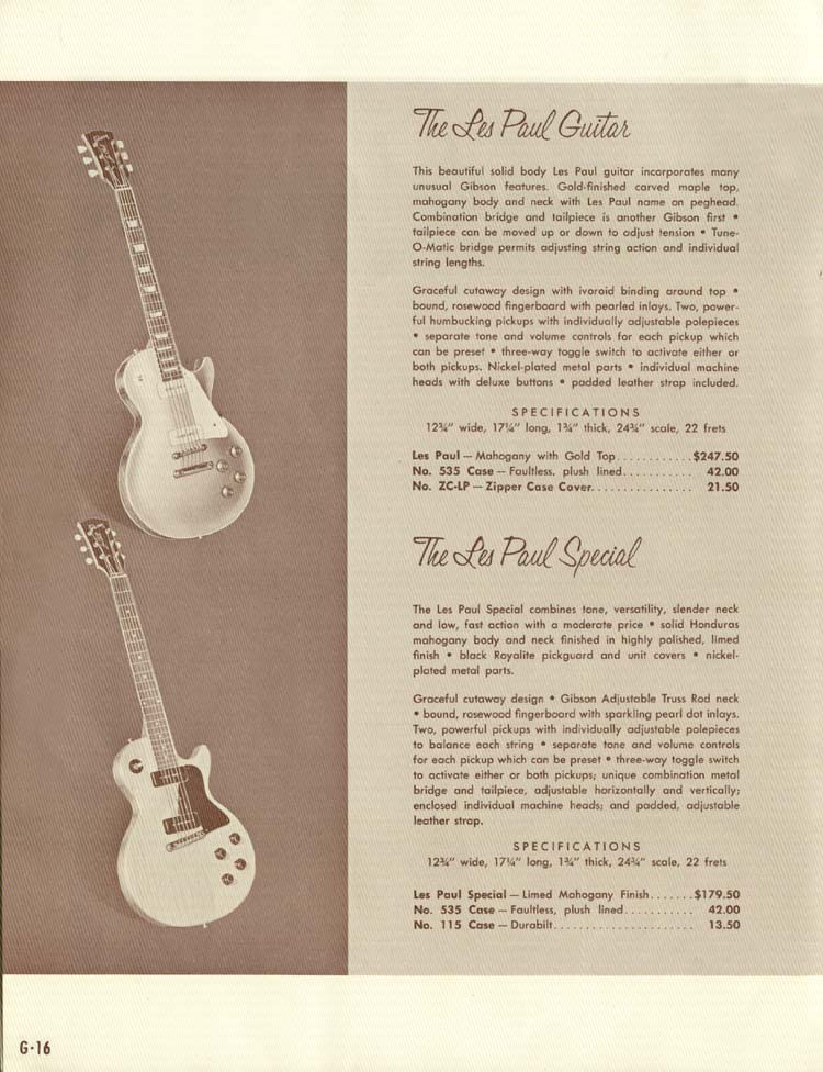 1958 Gibson Electric Guitars and Amplifiers Catalogue page 16 - Les Paul Standard and Les Paul Special