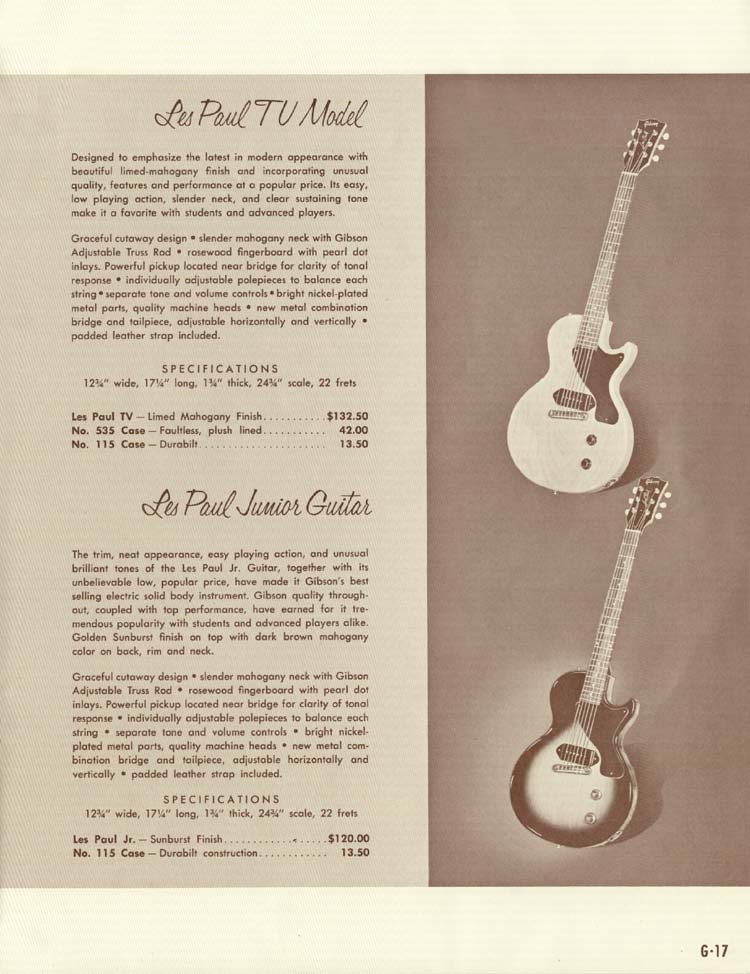 1958 Gibson Electric Guitars and Amplifiers Catalogue page 17 - Les Paul Junior and Les Paul TV