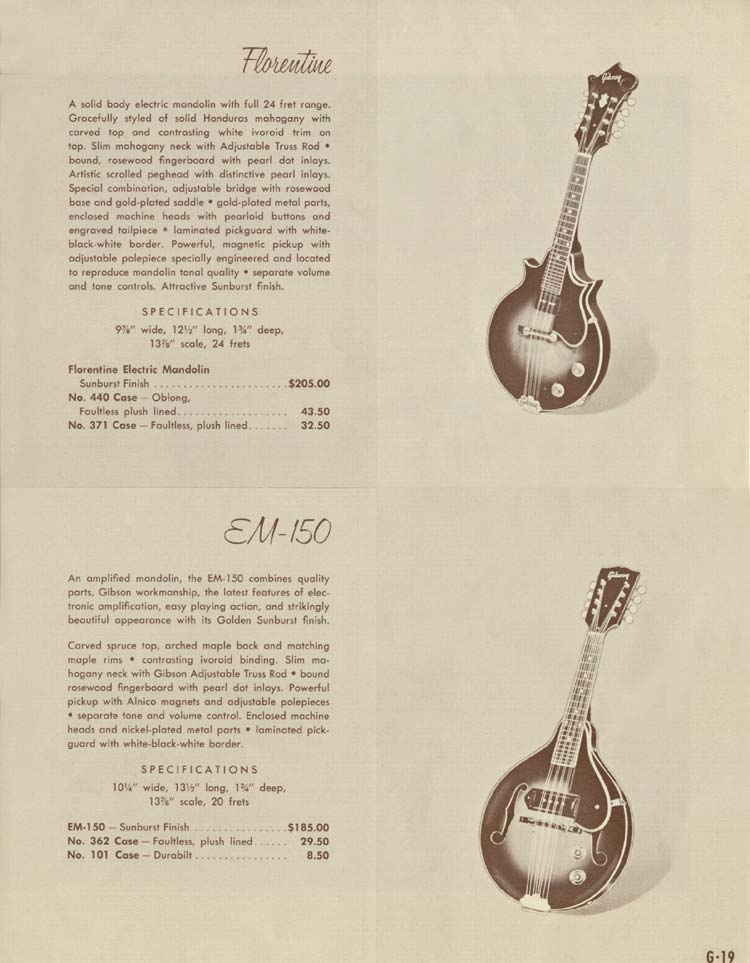 1958 Gibson Electric Guitars and Amplifiers Catalogue page 19 - Florentine and EM-150