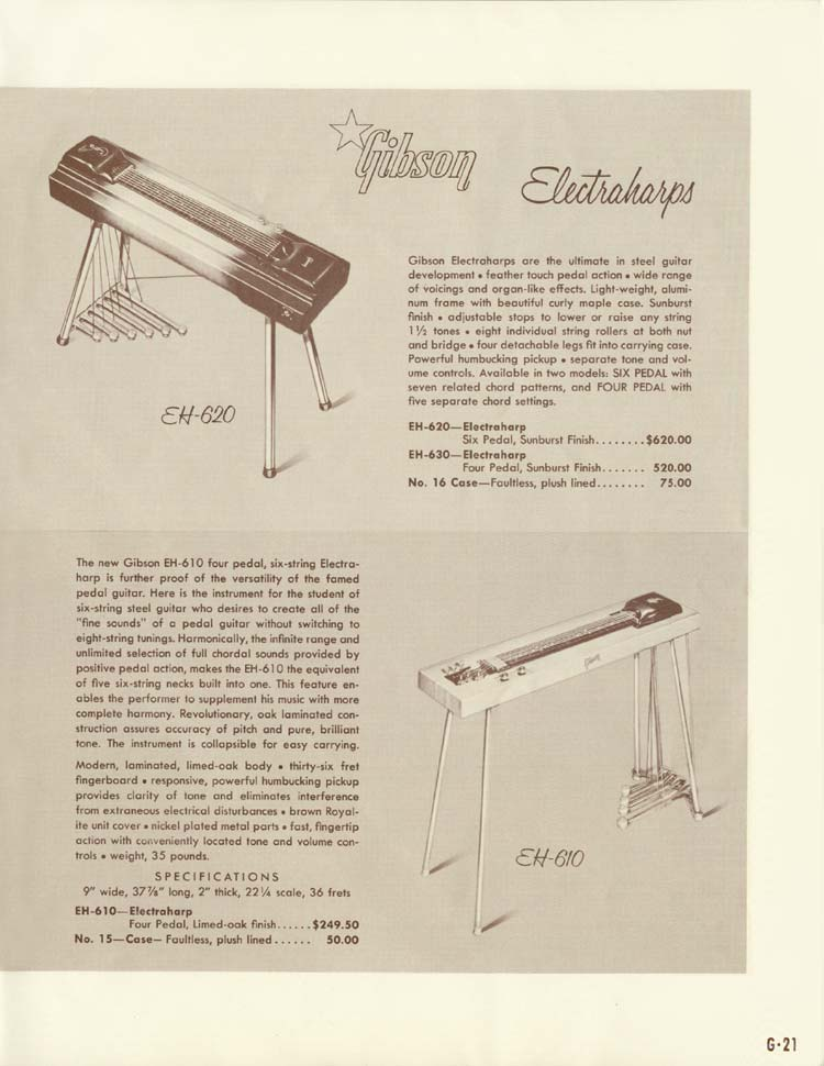 1958 Gibson Electric Guitars and Amplifiers Catalogue page 21 - Electraharps EH610 and EH620