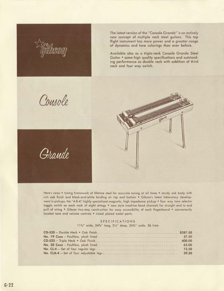 1958 Gibson Electric Guitars and Amplifiers Catalogue page 22 - Console Grande CG-520 and CG-523