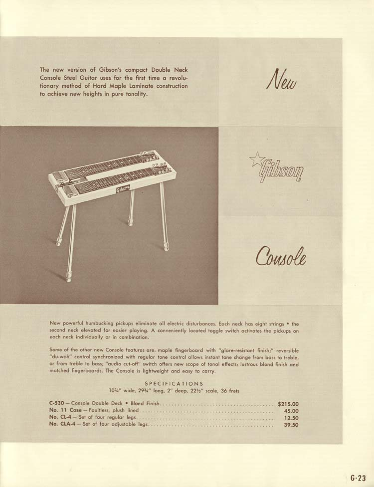 1958 Gibson Electric Guitars and Amplifiers Catalogue page 23 - Console C-530