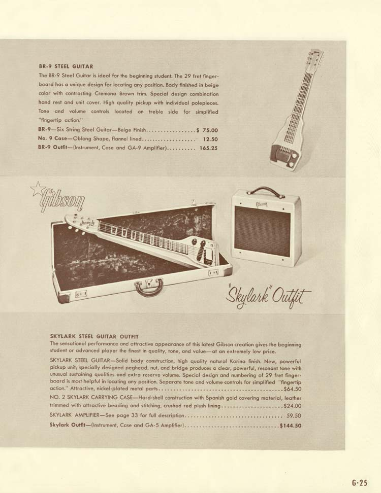 1958 Gibson Electric Guitars and Amplifiers Catalogue page 25 - BR-9 and Skylark steel guitars