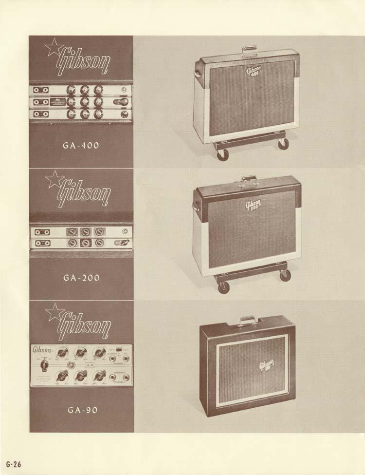 1958 Gibson Electric Guitars and Amplifiers Catalogue page 26 - GA-90 GA-200 GA-400 guitar amplifiers