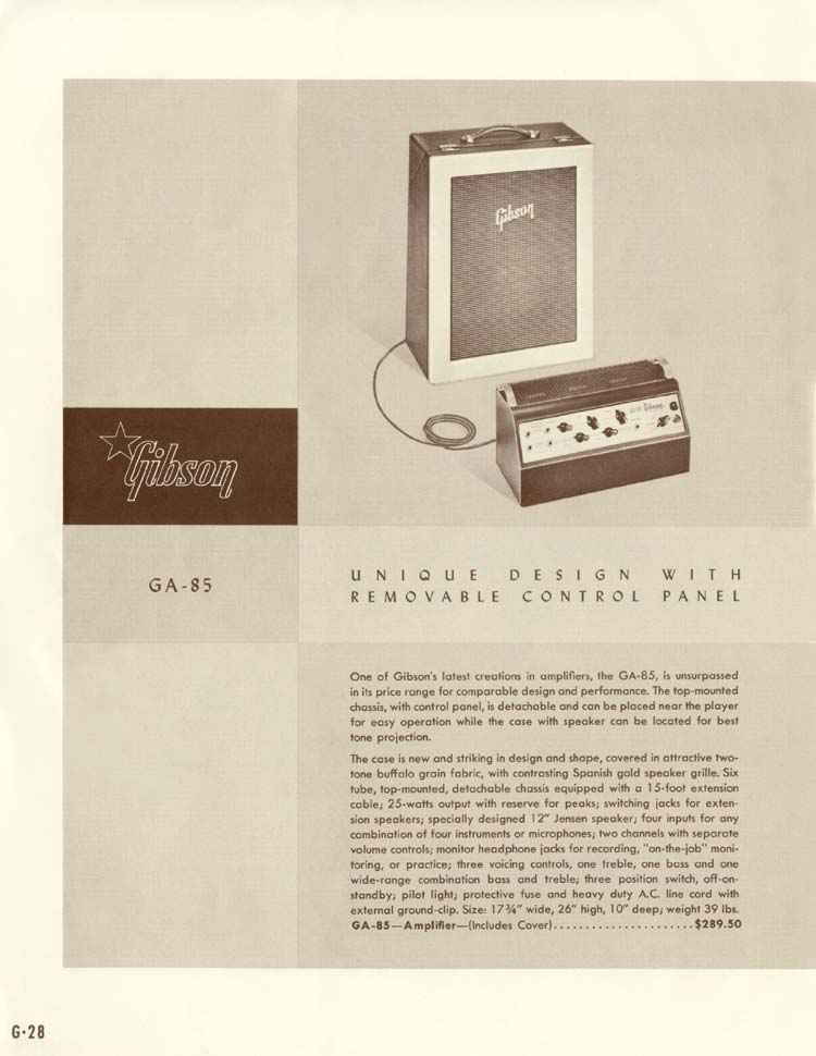 1958 Gibson Electric Guitars and Amplifiers Catalogue page 28 - Gibson GA-85