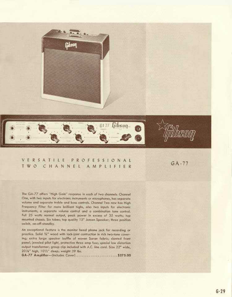 1958 Gibson Electric Guitars and Amplifiers Catalogue page 29 - GA-77