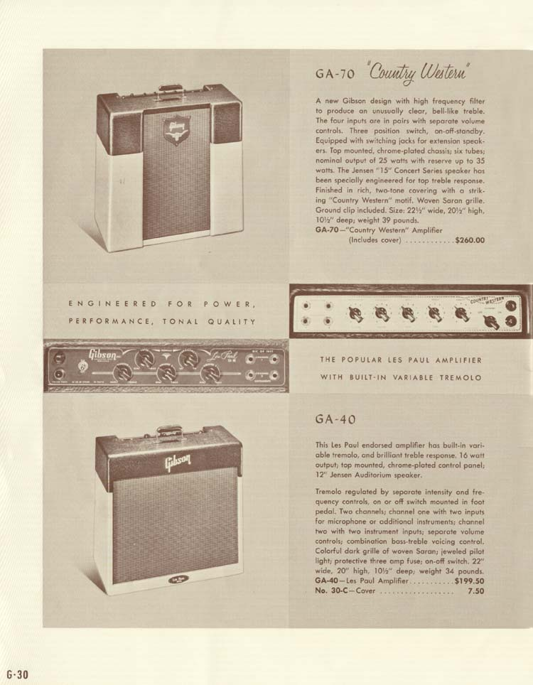 1958 Gibson Electric Guitars and Amplifiers Catalogue page 30 - GA-40 and GA-70