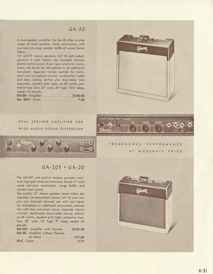 1958 Gibson Electric Guitars and Amplifiers Catalogue page 31 - Gibson GA-20 and GA-30