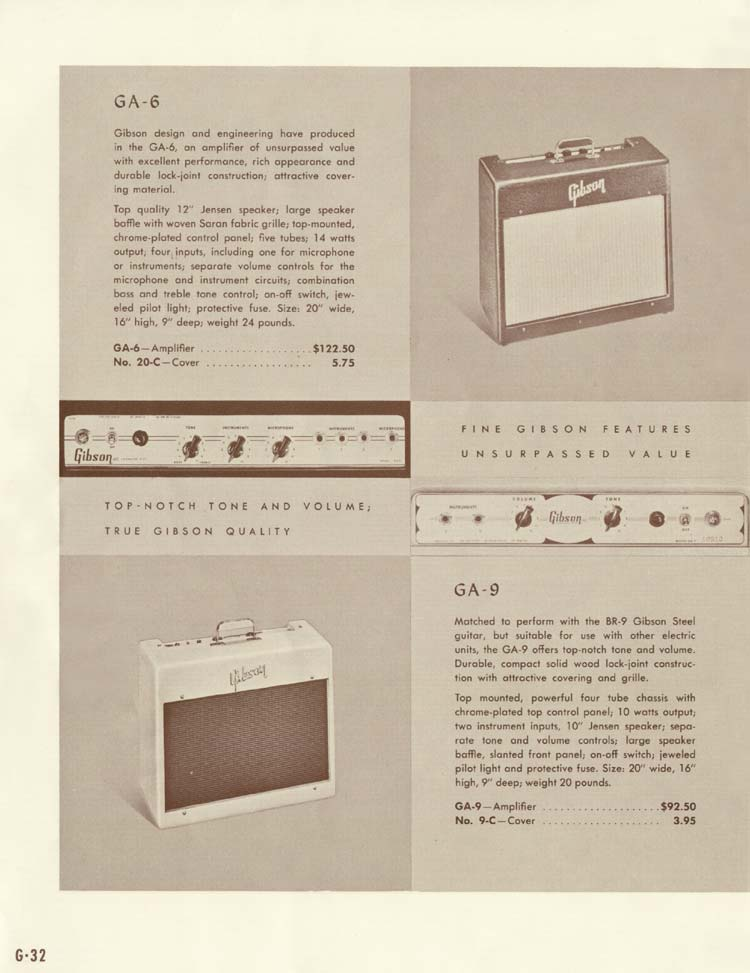 1958 Gibson Electric Guitars and Amplifiers Catalogue page 32 - GA-6 and GA-9 amplifiers