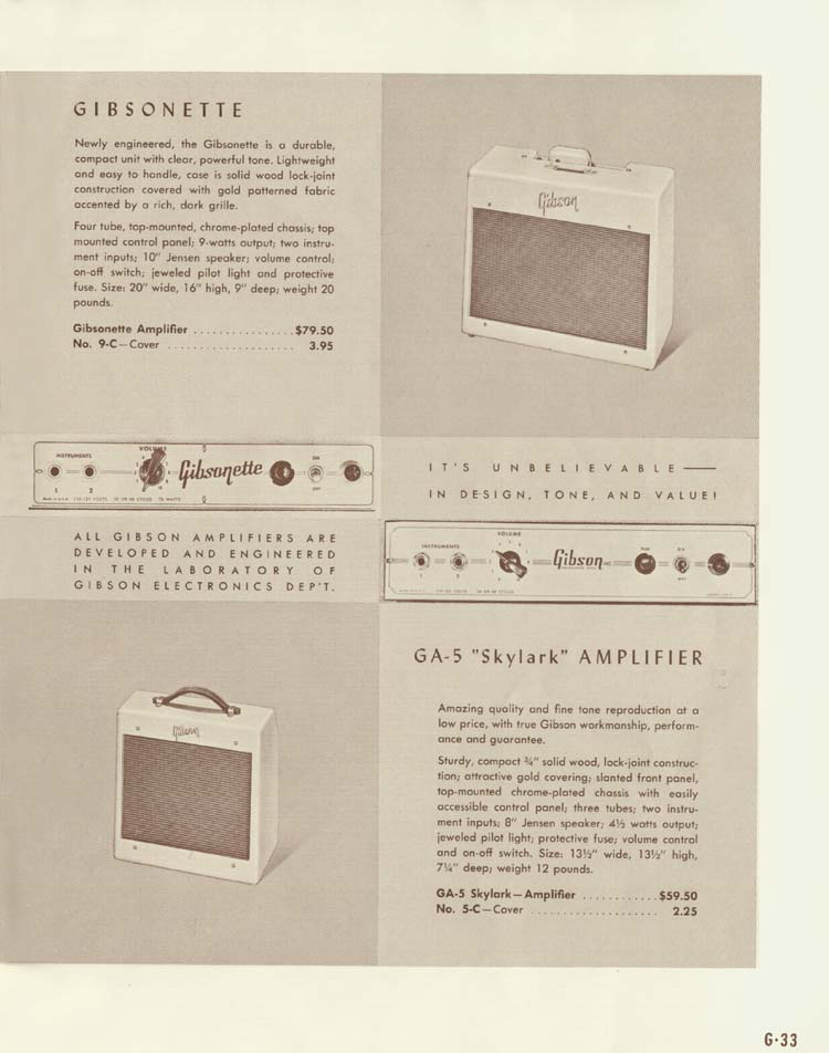 1958 Gibson Electric Guitars and Amplifiers Catalogue page 33 - GA-5 Skylark and Gibsonette amplifiers