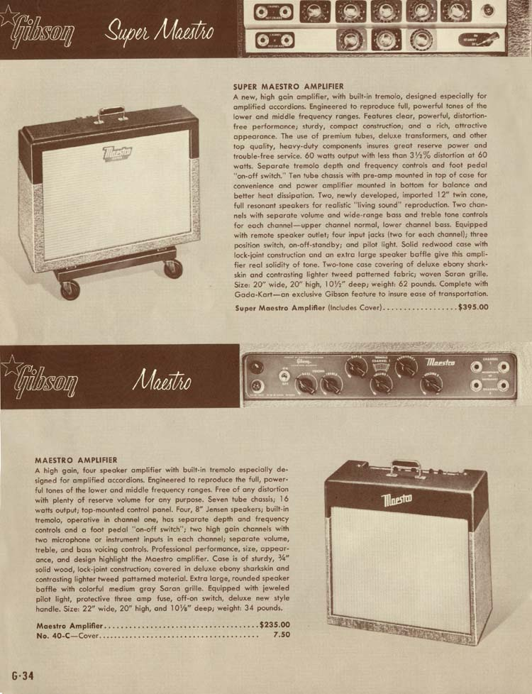 1958 Gibson Electric Guitars and Amplifiers Catalogue page 34 - Maestro and Super Maestro amplifiers